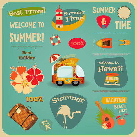 hawaii: Summer Travel Card - Vacation Items in Retro Style - Flat Design Style. Best Holiday. Vector Illustrations.