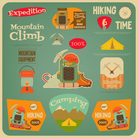 ice ax: Mountain Climbing Card in Retro Design. Camping and Hiking Elements. Vector Illustration.