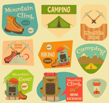 ice ax: Mountain Climbing Stickers Collection in Retro Design. Camping and Hiking Elements. Vector Illustration. Illustration