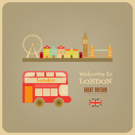 red bus: London. English Postcard with Red Bus. Vector Illustration.
