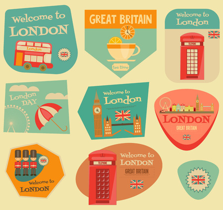 wheel guard: London. English Stickers Collection with British theme. Vector Illustration. Illustration