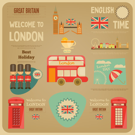 guardsman: London. English Poster with British theme. Vector Illustration.