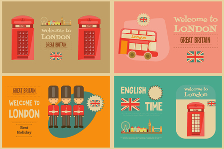 red bus: London. English Mini Posters Collection with British theme. Vector Illustration. Illustration