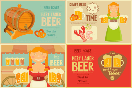 bavarian girl: Beer Mini Posters Set in Flat Design Style. Bavarian Girl with Beer Mugs. Vector Illustration.