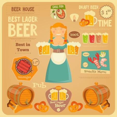 bavarian girl: Beer Card in Flat Design Style. Bavarian Girl with Beer Mugs. Vector Illustration.
