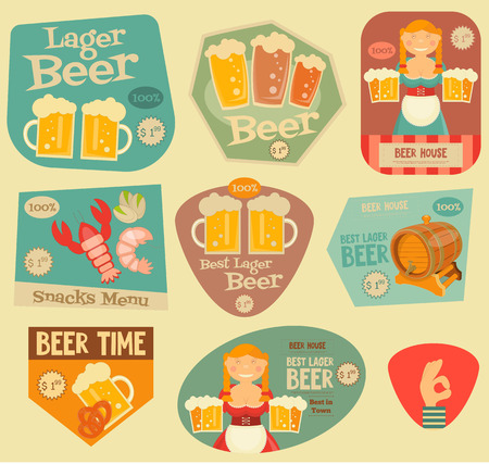 bavarian girl: Beer Stickers in Flat Design Style. Bavarian Girl with Beer Mugs. Layered file. Vector Illustration.