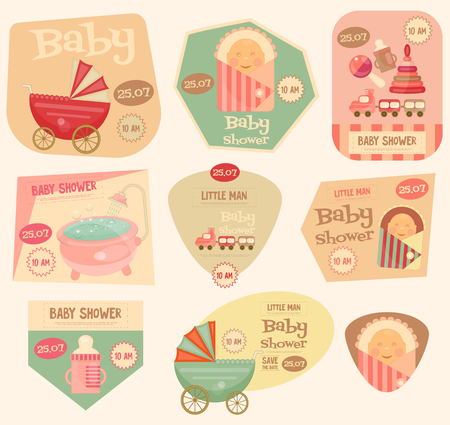 sticker: Baby Shower Stickers. Layered File. Vector Illustration. Illustration
