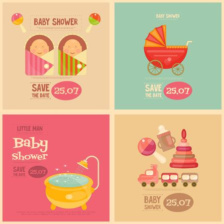 baby shower party: Baby Shower Mini Posters Set. Its a Boy! Its a Girl! Vector Illustration.