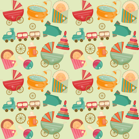 baby shower party: Baby Shower Seamless Background. Its a Boy! Vector Illustration. Illustration