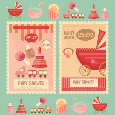Baby Shower Cards. Vector Illustration.