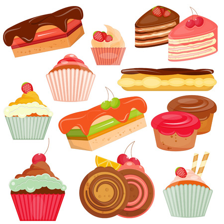 eclair: Set of Cakes Isolated on White Background. Layered File. Vector Illustration.