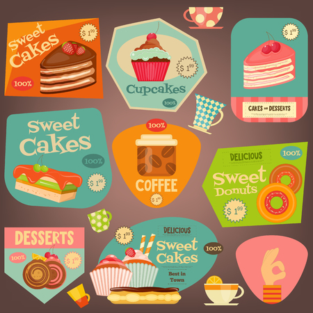 eclair: Set of Sweet Cakes and Cupcakes Stickers. Vector Illustration. Illustration