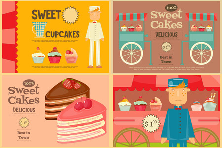 vendor: Set of Cakes Mini Posters. Vendor Cakes and Cupcakes. Vector Illustration.
