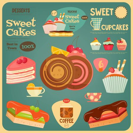 coffee and cake: Sweet Cakes Card. Cover Cafe Menu. Vector Illustration.