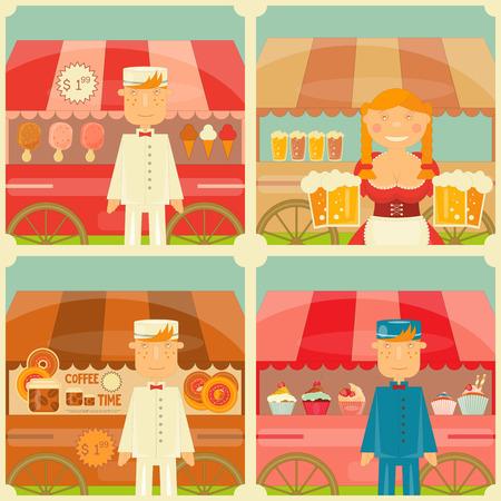 street market: Food Cart with Seller - Set of Mini Posters. Vector Illustration. Illustration
