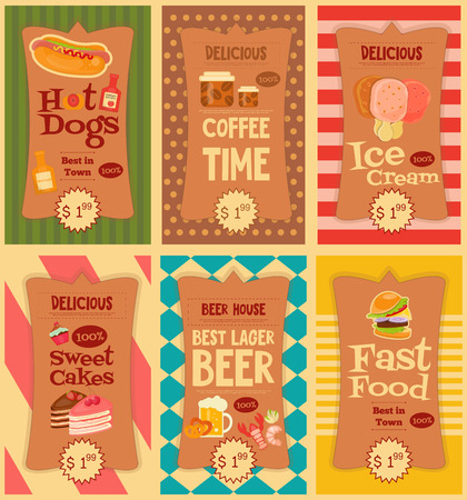 hot dog: Fast Food Stickers Collection. Mini Posters Set. Vector Illustration.