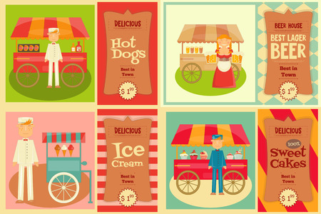 hotdog: Food Cart with Vendor - Set of Mini Posters. Vector Illustration.