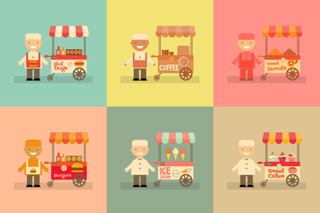 dessert stand: Food Carts with Sellers Set. Street-Food Market Store Car. Mini Posters Collection in Cartoon and Retro Style. Vector Illustration.