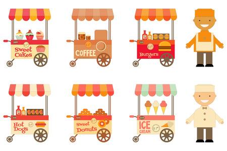 carretto gelati: Carrelli portavivande con i venditori insieme isolato su sfondo bianco. Street-Food Market deposito auto. Illustrazione vettoriale. Vettoriali