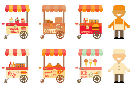Food Carts with Sellers Set Isolated on White Background. Street-Food Market Store Car. Vector Illustration. Stock Illustratie