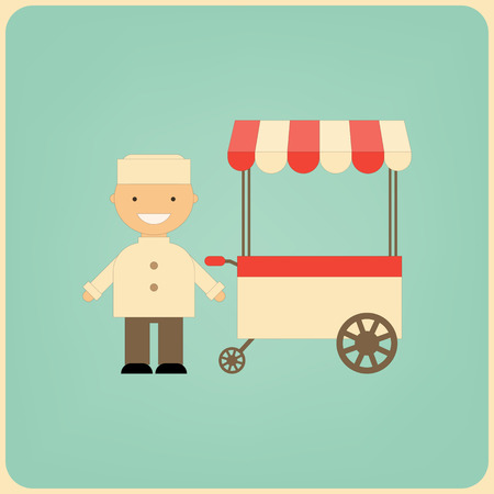 pushcart: Food Cart and Seller with Place for Text. Street-Food Market Store Car. Retro Style. Vector Illustration. Illustration