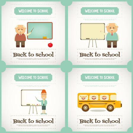 set square: Back to School Mini Posters Set. Square format. Vector Illustration.