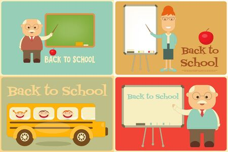 blackboard cartoon: Back to School Mini Posters Set in Retro Style. Vector Illustration.