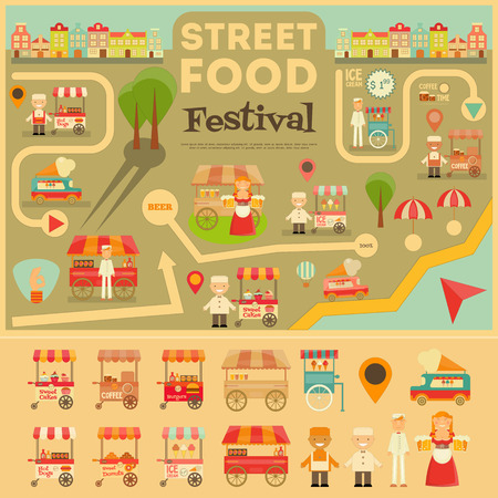 merchant: Street Food on City Map. Food carts on Infographic Card. Sellers and Trucks with Food.