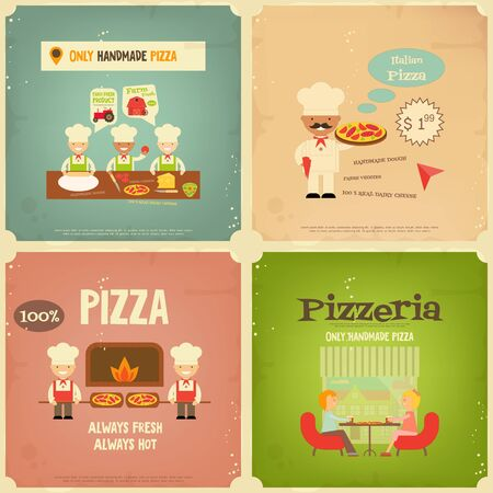 pizza ingredients: Pizzeria. Meal in Cafe and Pizza Making. Flat Design. Mini Posters Set in Retro Style. Vector Illustration.