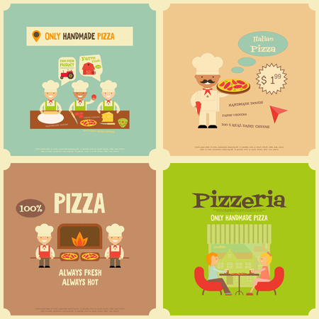 mini: Pizzeria. Meal in Cafe and Pizza Making. Flat Design. Mini Posters Set. Vector Illustration.