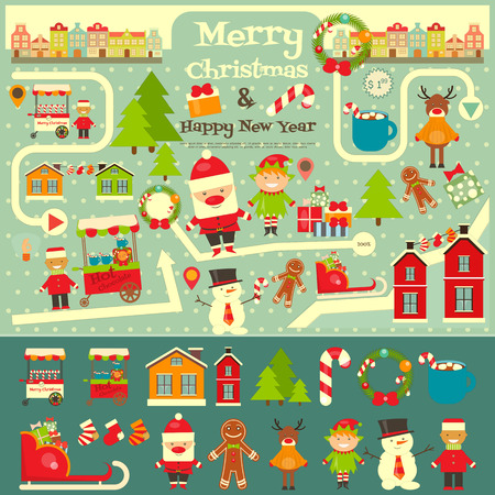 elf cartoon: Christmas characters on City Map. Santa Claus on Infographic Card. Sellers and Trucks with Christmas Food. Vector Illustration.