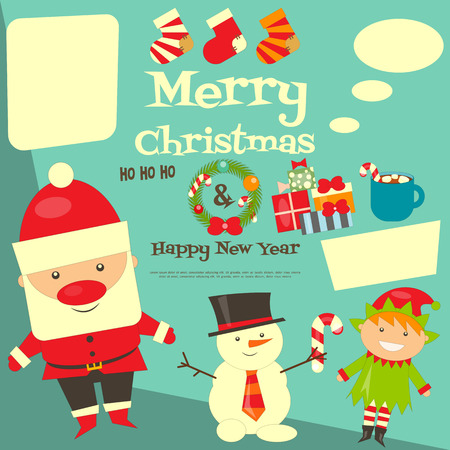 elf hat: Christmas Characters Postcard with Place for Text. Santa Claus, Snowman and Christmas Elf. Vector Illustration.