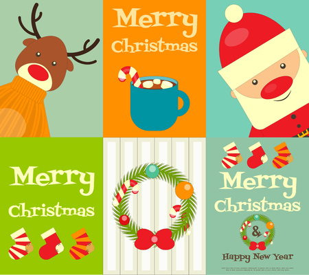 cute animals: Christmas characters - Santa Claus and Reindeer. Set of Cute Christmas Posters. Vector Illustration.