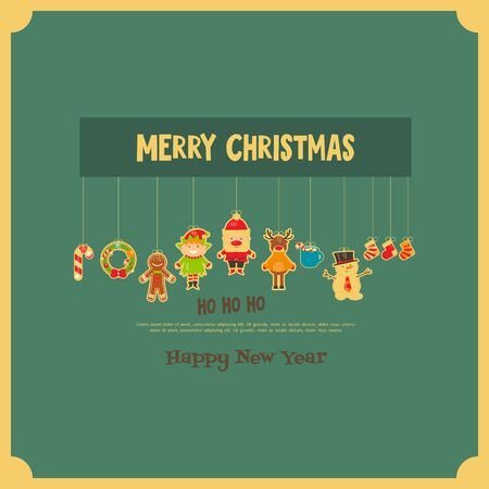 xmas background: Christmas characters on Greeting Card in Retro Style. Santa Claus, Snowman and Deer. Vector Illustration. Illustration