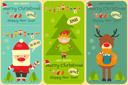 claus: Christmas characters on Greeting Card. Santa Claus, Snowman and Deer. Vertical Format. Vector Illustration.