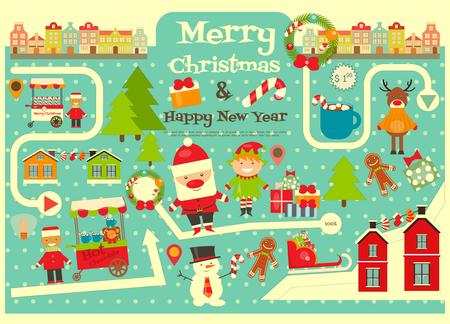 cioccolato natale: Caratteri di Natale su Mappa della citt�. Il Babbo Natale sveglio su Infografica card. Venditori e camion con cibo di Natale. Illustrazione vettoriale.