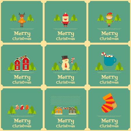 christmas characters: Christmas characters on Greeting Mini Christmas Cards. Santa Claus, Snowman and Deer. Vector Illustration. Illustration
