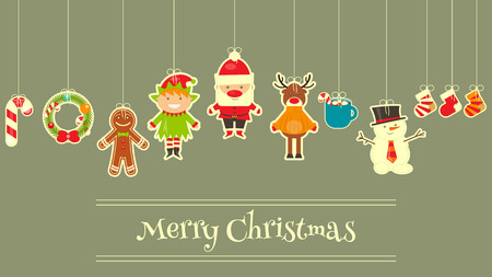 elf hat: Christmas characters on Greeting Card. Santa Claus, Snowman and Deer. Vector Illustration.