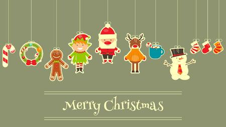 duendes de navidad: Personajes de la Navidad en la tarjeta de felicitación. Papá Noel, muñeco de nieve y ciervos. Ilustración del vector.