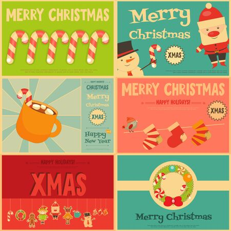 Christmas characters on Stickers. Set of Cute Christmas Mini Posters. Vector Illustration.