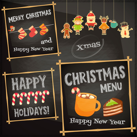 menu icon: Christmas characters on Chalkboard. Cafe Sweet  Menu. Vector Illustration.