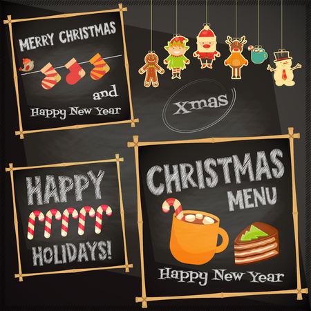 menu de postres: Personajes de la Navidad en la pizarra. Men� Cafe Sweet. Ilustraci�n del vector. Vectores