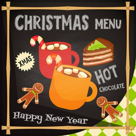 Christmas Menu - Hot chocolate, Gingerbread man and Cake. Vector Illustration. Illustration