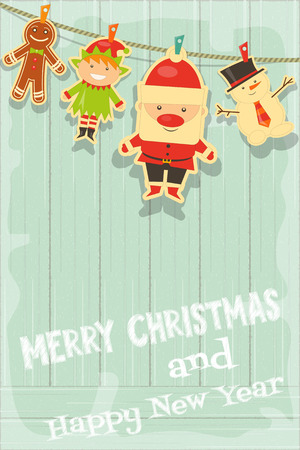 Christmas Characters on Rustic Wooden Background. Santa Claus, Snowman and Christmas Elf. Vertical Format. Vector Illustration. Illustration