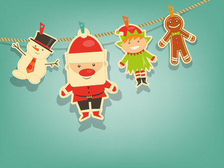 Christmas Characters on Blue Background. Santa Claus, Snowman and Christmas Elf. Vector Illustration. Çizim