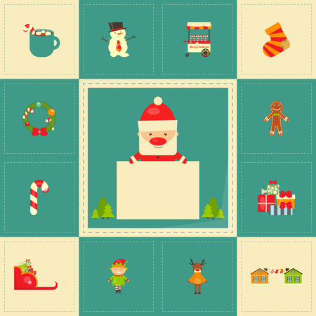 christmas characters: Christmas characters on Greeting Card. Santa Claus with Postcard. Vector Illustration.