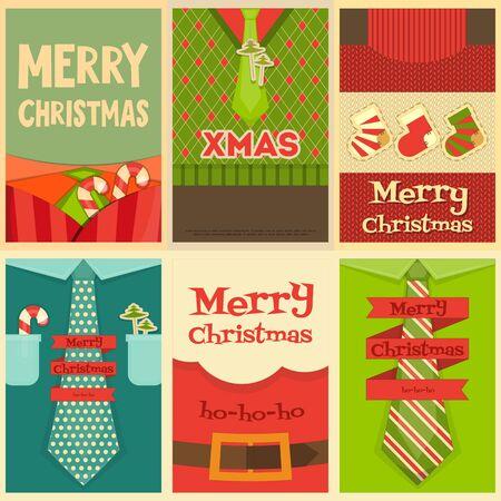 sueter: Navidad carteles establecidos. Ropa y accesorios de Navidad. Ilustración del vector.