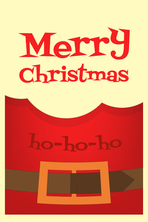 greatcoat: Christmas Card. Beard of Santa Claus, Coat and Belt. Closeup. Vector Illustration.