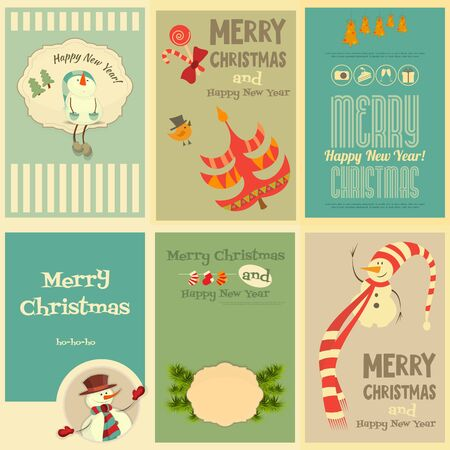 christmas cute: Set of Cute Christmas Mini Posters. Vector Illustration.