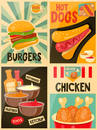 fried chicken: Fast Food posters collection - Burgers, Hot Dog and Chicken Advertising in Retro Style. Vector Illustration.